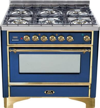 "UM-906-DMP-BL 36"" Majestic Series Dual Fuel Range with 3.55 cu. ft. Oven Capacity  6 Burners  Electronic Ignition  Digital Clock and Timer  and Brass Trim:"