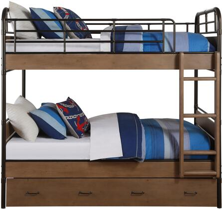 Adams Collection 37760 Twin Over Twin Size Bunk Bed with Trundle  Built-In Ladder  Slat System Included  Metal Frame and Engineered Wood Construction in