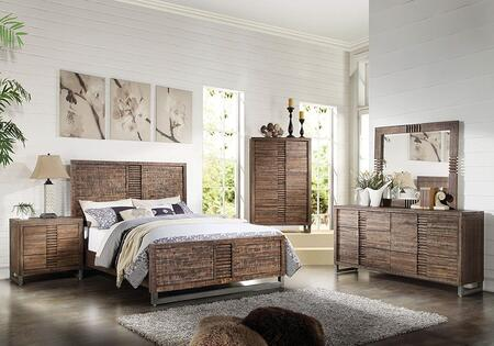 Andria Collection 21287EKSET 5 PC Bedroom Set with King Size Bed + Dresser + Mirror + Chest + Nightstand in Reclaimed Oak
