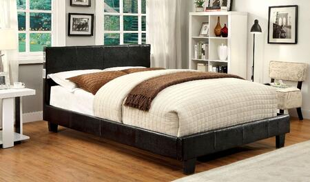 Evans Collection CM7099EX-EK-BED Eastern King Size Platform Bed with Tapered Legs  Bluetooth Speakers  Leatherette Upholstery and Solid Wood Construction in