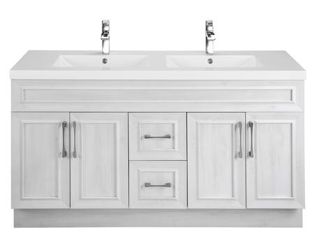 Classic Collection CCTRFH60DBT 60 inch  Transitional Double Sink Vanity with 4 Doors  2 Drawers and Soft Closing Hardware in Fogo