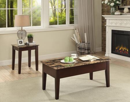 Dusty II Collection 84555CE 2 PC Living Room Table Set with Rectangular Shaped Coffee Table and Square Shaped End Table in Cherry