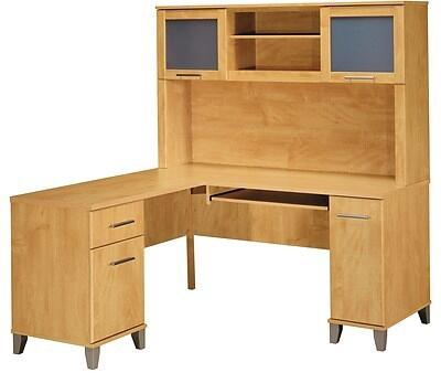 Somerset WC81430K-31 Desk and Hutch with Simple Pulls  One Cabinet and One Filing Cabinet in Maple