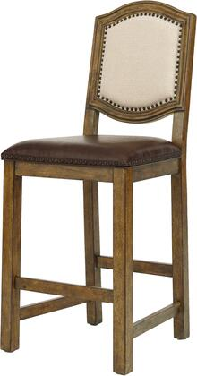 8854-170 30 inch  American Attitude Wood Frame Bar Stool with Upholstered Seat and Back  Block Feet  Nail Head Accents and Distressed Detailing in Brown