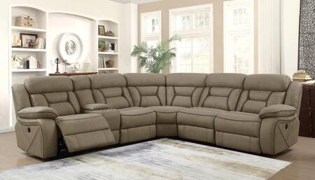 Camargue Motion Collection 600380+600380AC 4-Piece Sectional Sofa with Left Arm Facing Power Reclining Loveseat  Wedge  Armless Chair and Right Arm Facing