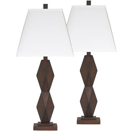 FSD-LMP-21DKBN-GG Exceptional Designs Table Lamp Set by Flash Natane in Dark Brown Poly Table Lamp Set of