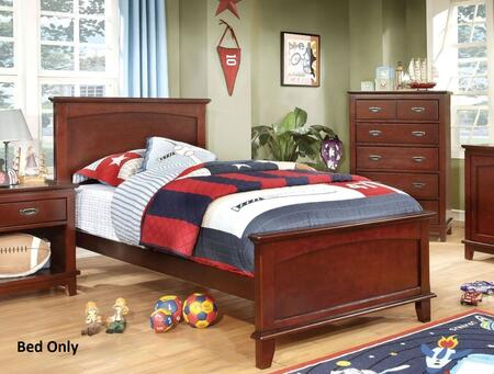 Colin Collection CM7909CH-T-BED Twin Size Bed with Slat Kit Included  Solid Wood and Wood Veneers Construction in Cherry