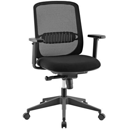Acclaim Collection EEI-2856-BLK Office Chair with Full Swivel Function  Adjustable Height  Adjustable Armrests  Nylon Frame  Breathable Mesh Back and Padded