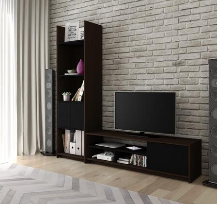 16852-79 Small Space 2-Piece TV Stand and Storage Tower Set in Dark Chocolate and
