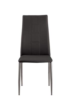 Angela Collection ANGELA-SC-BLK Side Chair with Chrome Tapered Legs and PU Leather Upholstery in