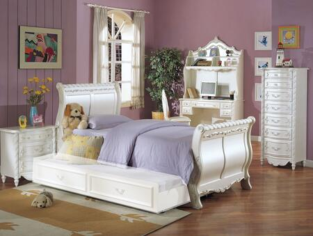 Pearl 01010TTNCDHC 7 PC Bedroom Set with Twin Size Bed + Trundle + Nightstand + Lingerie Chest + Desk + Hutch + Chair in Pearl White