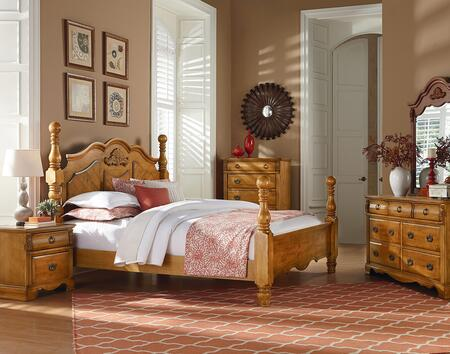 Georgetown Collection 6-Piece Queen Bedroom Set with Poster Bed  Dresser  Mirror  2x Nightstands and Chest in Honey Pine