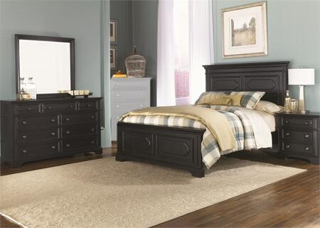 Carrington II Collection 917-BR-KPBDMN 4-Piece Bedroom Set with King Panel Bed  Dresser  Mirror and Night Stand in Black