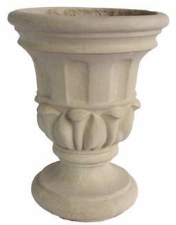 Magnolia Collection URN-1520 15 Round Urn with Cast Limestone Construction and Classical Design in Natural Beige
