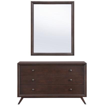 Tracy Collection MOD-5310-CAP-SET Dresser and Mirror with 3 Easy-Glide Drawers  Mid-Century Modern Style  Antique Metal Knobs  Platform Leg Base  Rubebrwood