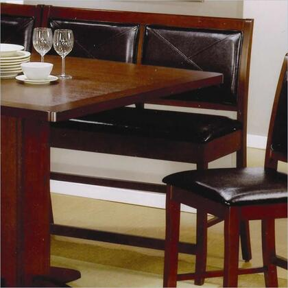 101793 Lancaster Counter Height Dining Bench with Black Faux Leather Covered Seat and Square Tapered Wood Legs in Deep Distressed Dark Brown Wood