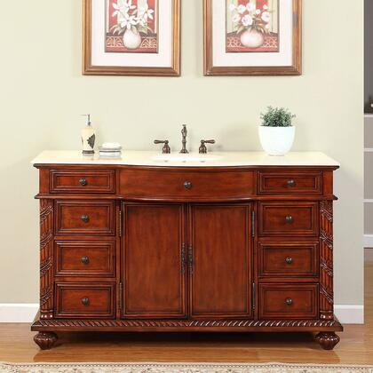 FS-0268-CM-UWC-60 60 inch  Single Sink Cabinet with 9 Drawers  2 Doors  Crema Marfil Marble Top and Undermount White Ceramic Sink