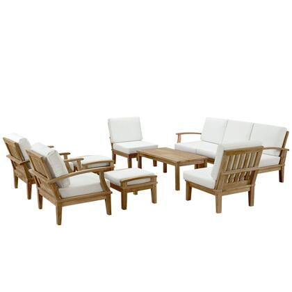 Marina Collection EEI-1480-NAT-WHI-SET 10 PC Outdoor Patio Set with Solid Teak Wood Construction  Machine Washable Covers  Water and UV Resistant Cushions in