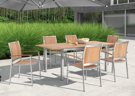 Vgmgvista Renava Vista 7 Pc Outdoor Dining Table Set With 6 Chairs  Dining Table  24 Extension  Rust Resistant Stainless Steel Base And Weatherproof Material