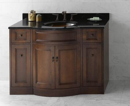 060648-F13 Marcello 48 inch  Wood Vanity Cabinet with Double Wood Doors and Four Drawers: Cafe