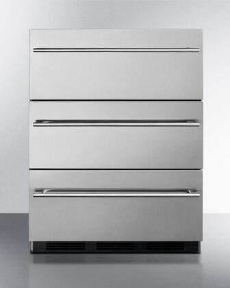 """SP6DSSTBTHIN7 24"""" 5.4 cu.ft. Capacity 3 Drawer Refrigerator  Automatic Defrost  Adjustable Thermostat  Anti-tip Bracket  100% CFC Free: Stainless Steel  Thin"""