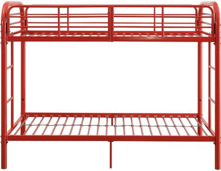 Thomas Collection 02178RD Twin Over Twin Bunk Bed with Built-in Side Ladders  Slat System Included  Full Length Guardrail and Metal Tube Frame in Red