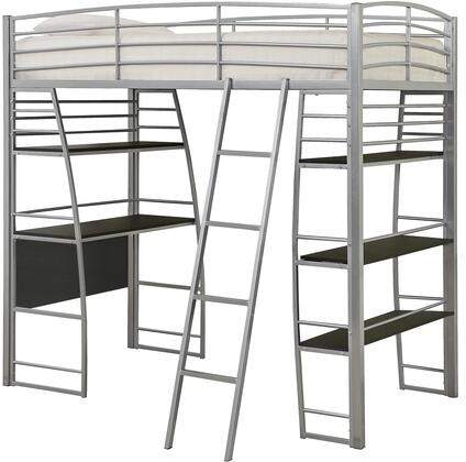 Escalon Collection 461081 Twin Size Loft Bed with Full Length Guardrails  Built-In Desk  4 Shelves  Slat Kit Included and Steel Metal Frame Construction in