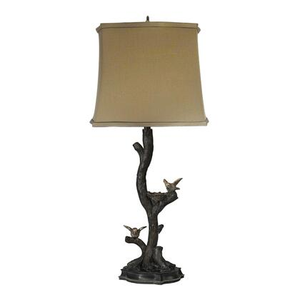 93-19309 Chicks On A Branch In Dark Bronze With Silver Leaf Table Lamp in Black _ Silver Leaf With Champagne Antique