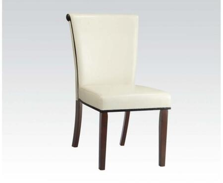 71535 Set of 2 Jafar Side Chairs with PU Leather Upholstery in Ivory and