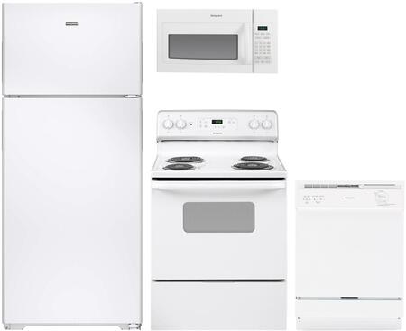 4-Piece White Kitchen Package with HPS18BTHWW 36 inch  Top Freezer Refrigerator  RB525DHWW 30 inch  Freestanding Electric Range  RVM5160DHWW 30 inch  Over the Range Microwave