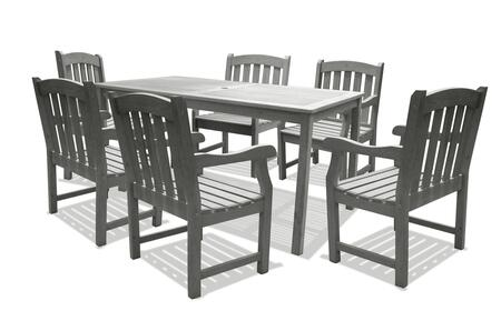 V1297SET5 Renaissance Outdoor Hand-scraped Hardwood Rectangular Table and  6 V1295 Renaissance Series Outdoor Hand-scraped Hardwood