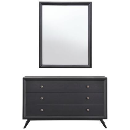 Tracy Collection MOD-5310-BLK-SET Dresser and Mirror with 3 Easy-Glide Drawers  Mid-Century Modern Style  Antique Metal Knobs  Platform Leg Base  Rubebrwood