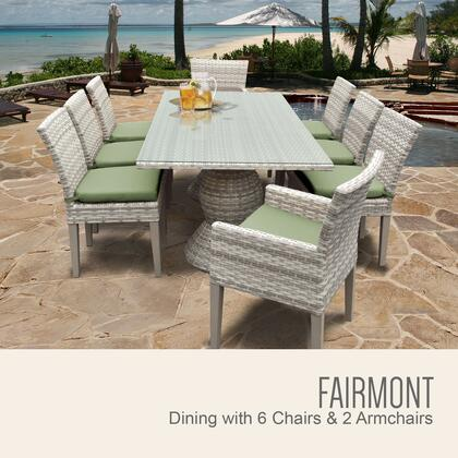 Fairmont-rectangle-kit-6adc2dcc-cilantro Fairmont Rectangular Outdoor Patio Dining Table With 6 Armless Chairs And 2 Chairs W/ Arms With 2 Covers: Beige And