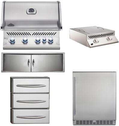 5-Piece Stainless Steel Outdoor Kitchen Package with BIPRO500RBNSS2 31 inch  Natural Gas Grill  BISZ300NFT 20 inch  Side Burner  NFR055ORSS 35 inch  Outdoor Refrigerator