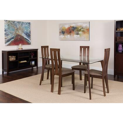 ES-124-GG Escalon 5 Piece Espresso Wood Dining Table Set With Glass Top And Vertical Wide Slat Back Wood Dining Chairs - Padded Seats 39
