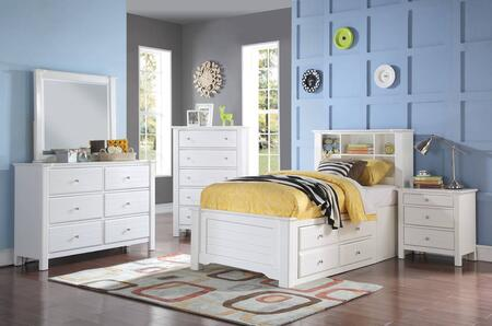 Mallowsea 30420TSET 5 PC Bedroom Set with Twin Size Bed + Dresser + Mirror + Chest + Nightstand in White