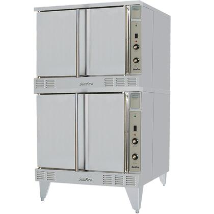 SCO-ES-20S-240/60/3 38 inch  Sunfire Series NSF Certified Electric Convection Oven with 106000 BTU  60/40 Dependent Solid Door  5 Chrome Plated Oven Racks and 2