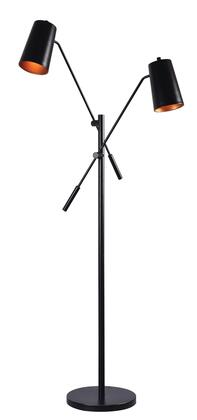 Avallone 32963BL Floor Lamp with On/Off Shade Switches  4.5 Matte Black Shades with Antique Bronze Accents and supports 2-60 Watt (M) Bulbs in Matte Black