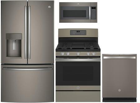 4-Piece Kitchen Package with GFE28GMKES 36 French Door Refrigerator  JGB700EEJES 30 Freestanding Gas Range  JVM7195EKES 30 Over the Rage Micorwave