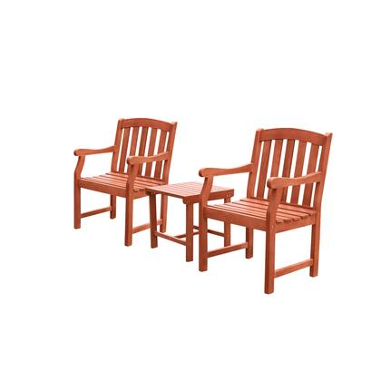 Malibu Collection V1802SET8 3-Piece Outdoor Patio Dining Set with Two Armchairs and Side Table in Natural Wood