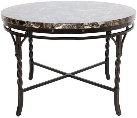 Burril Collection 70584 44 inch  Dining Table with Faux Marble Top  Scrolled Metal Legs  Paper Veneer Materials and Medium-Density Fiberboard