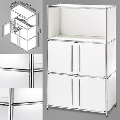 814495012444 30 inch  Wide System4-SIMPLI Modular Bookcase with 3 Shelves and Two Double Doors  Steel Construction in White and Chrome