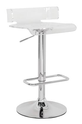 Rania Collection 96260 22 inch  - 31 inch  Stool with Adjustable Height  Chrome Steel Base  Gas Lift  Chrome Footrest and Swivel Acrylic Resin Seat in Clear