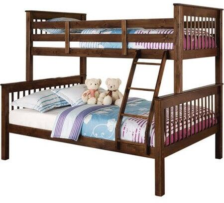Haley Collection 02417 Twin Over Full Size Bunk Bed with Fixed/Built in Ladder  Slat System Included  Bunkie Board Recommended  Pine Wood and Plywood