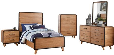 Carla Collection 30760TSET 5 PC Bedroom Set with Twin Size Bed + Dresser + Mirror + Chest + Nightstand in Oak and Black