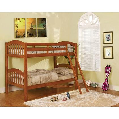Coney Island Collection Cm-bk524-oak-bed Twin Size Bunk Bed With Picket Fence Design  Front Access Fixed Ladder  Solid Wood And Wood Veneer Construction In Oak