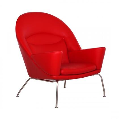 Livmor FB4719RED Chair with Track Arms  Stainless Steel Legs and Fabric Upholstery in