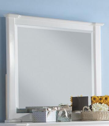 Mallowsea 30394 48 inch  x 38 inch  Mirror with Beveled Edge and Pine Wood Construction in White