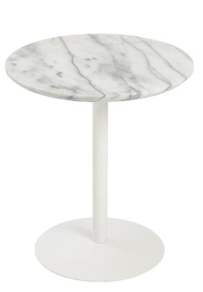80964wht Tammy Round Side Table With Marble Top And Chrome Steel Base In