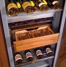 "S35354000 Humidrawer Cigar Storage Compartment for 24"" Wine Cabinet with 200 Cigar Capacity  and 4 Adjustable Spanish Cedar Lined"